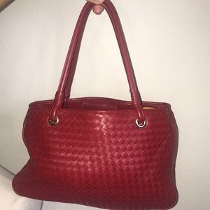 "Valerie Stevens red leather braided purse 11"" x 7"""